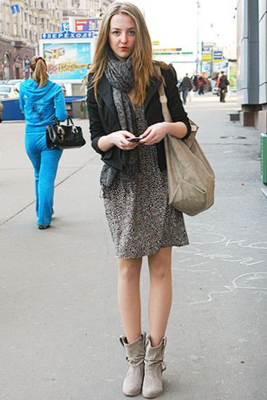 Fashiony Russian Model on a Moscow street - European Stereotypes