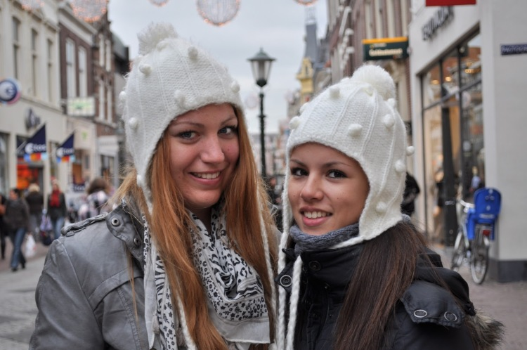 Dutch Girls with wooly hats - Street Scene. European Stereotypes
